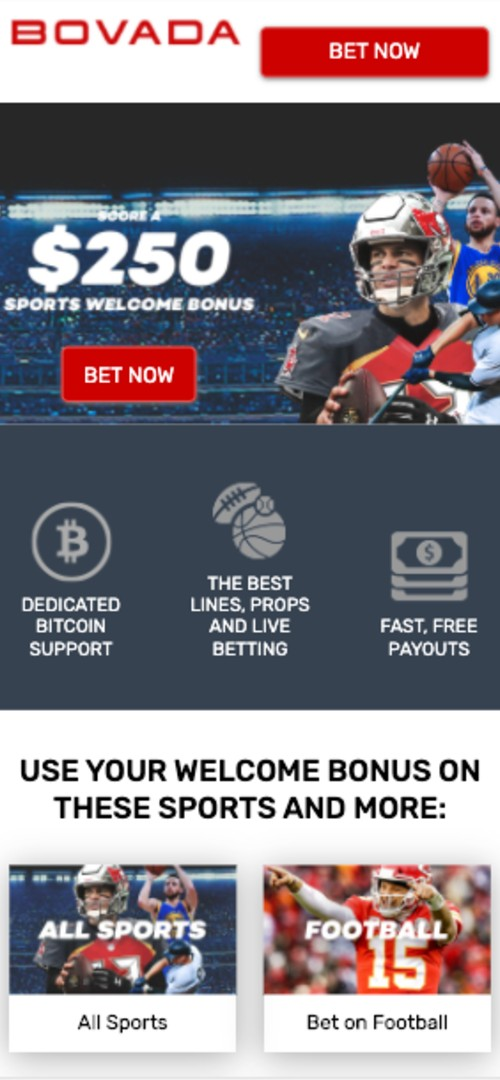 Bovada Landing page