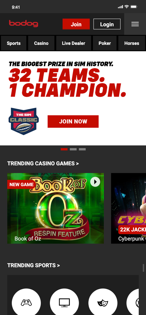 Bodog Sign-up Screen One