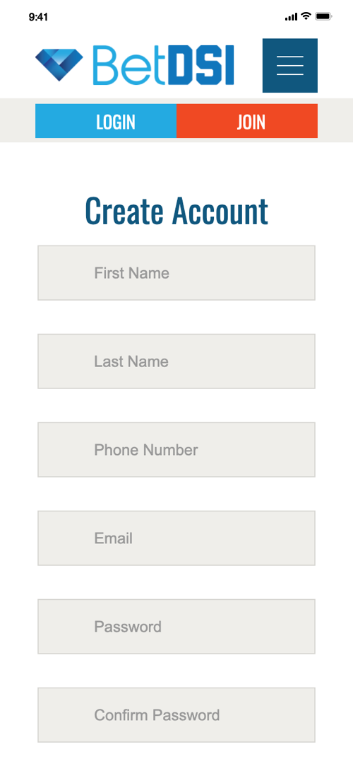 BetDSI Account Creation Screen Two
