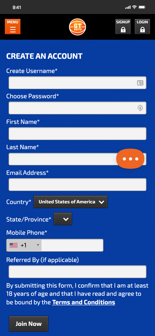 GTBets Sign-up Screen Two
