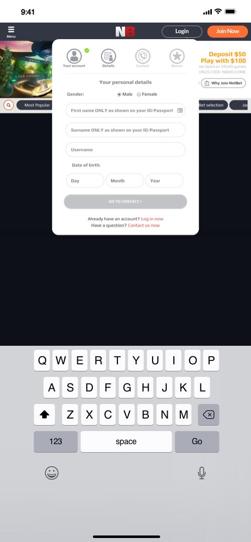 Netbet Account Creation Screen Three
