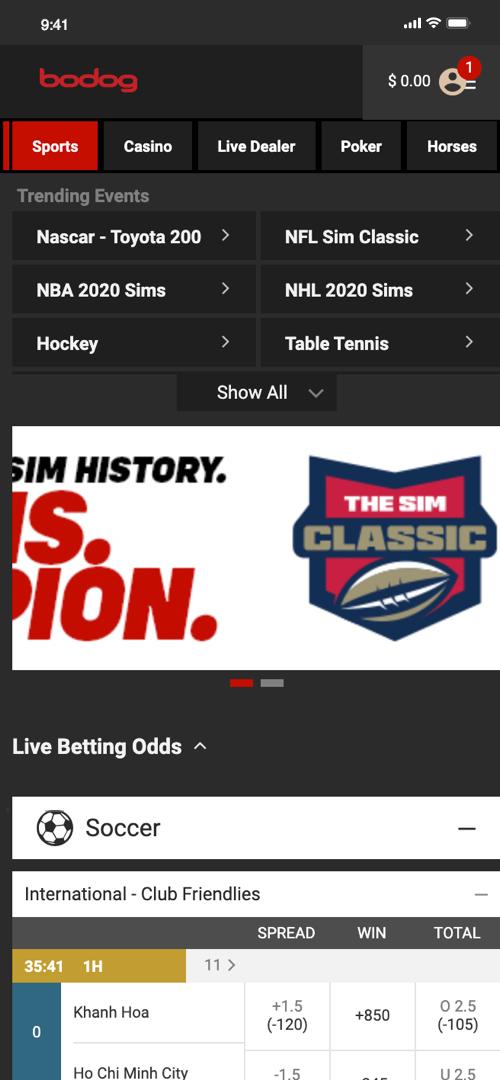 Bodog Betting Screen One