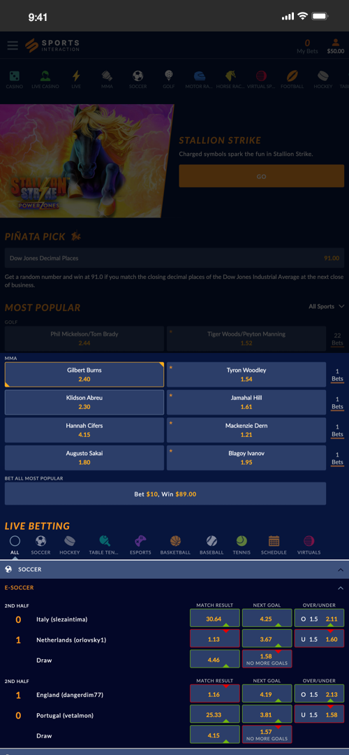 SportsInteraction Betting Screen Two