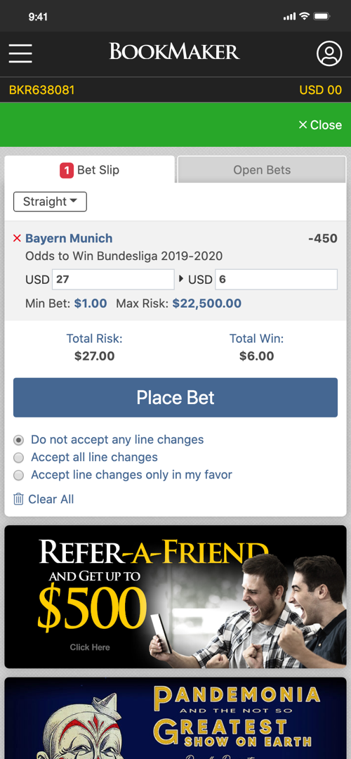 Bookmaker Betting Screen Two
