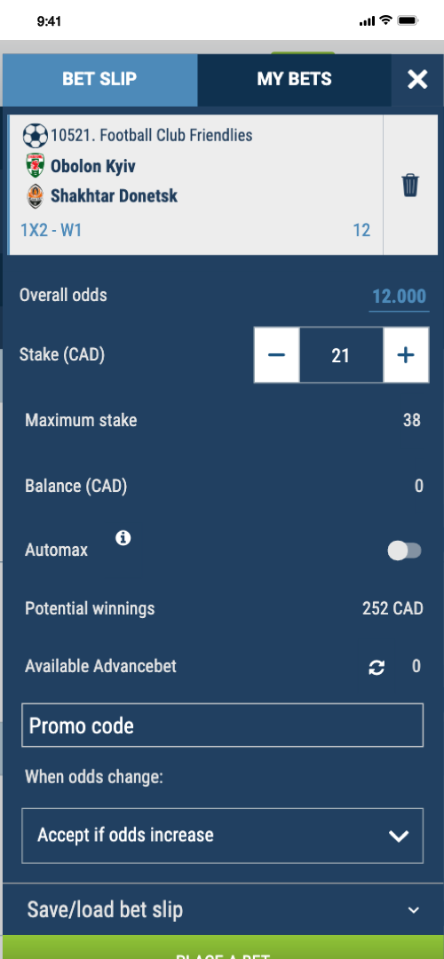 1xBet Betting Screen Two