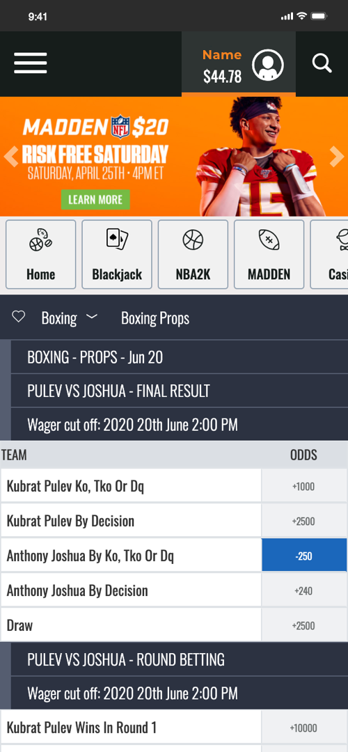 Mybookie Placing A Bet Screen Two