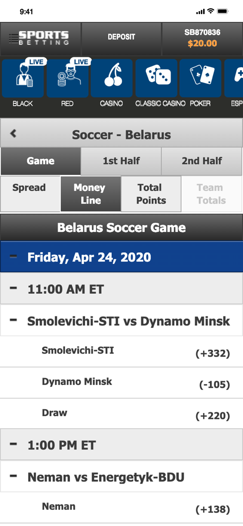 Betonline.ag Betting Screen Three