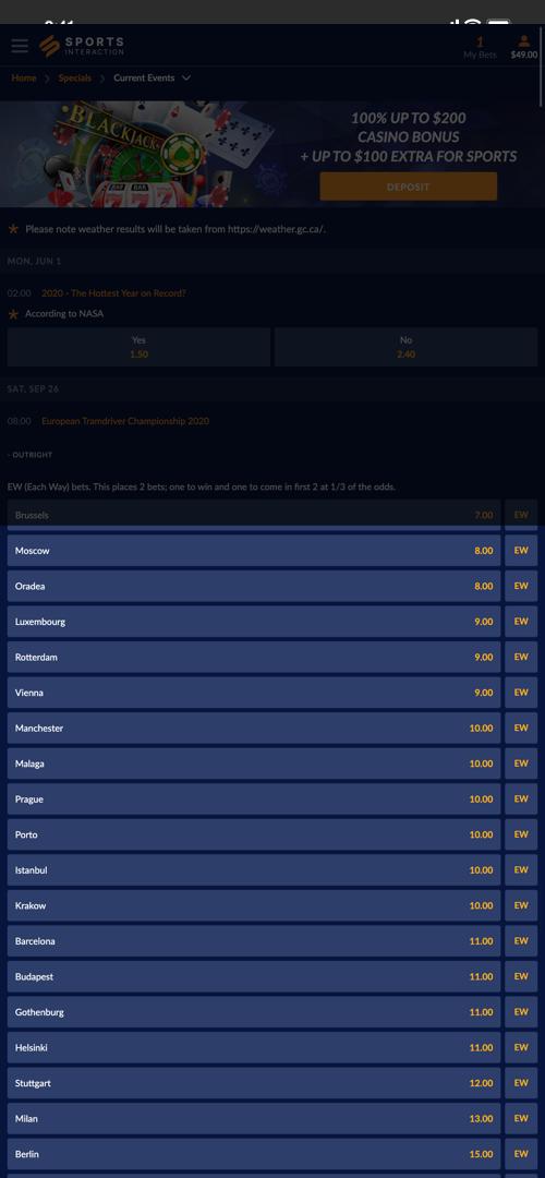 SportsInteraction Betting Screen Three