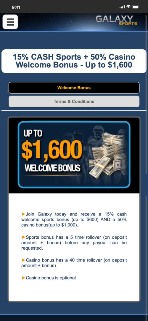 Galaxy sportsbook welcome bonus