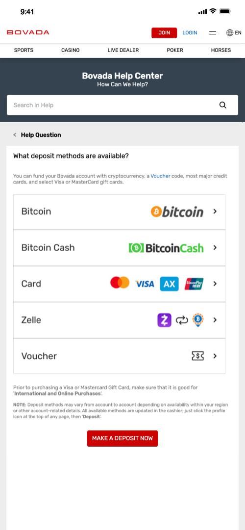 Click to pay screenshot bovada