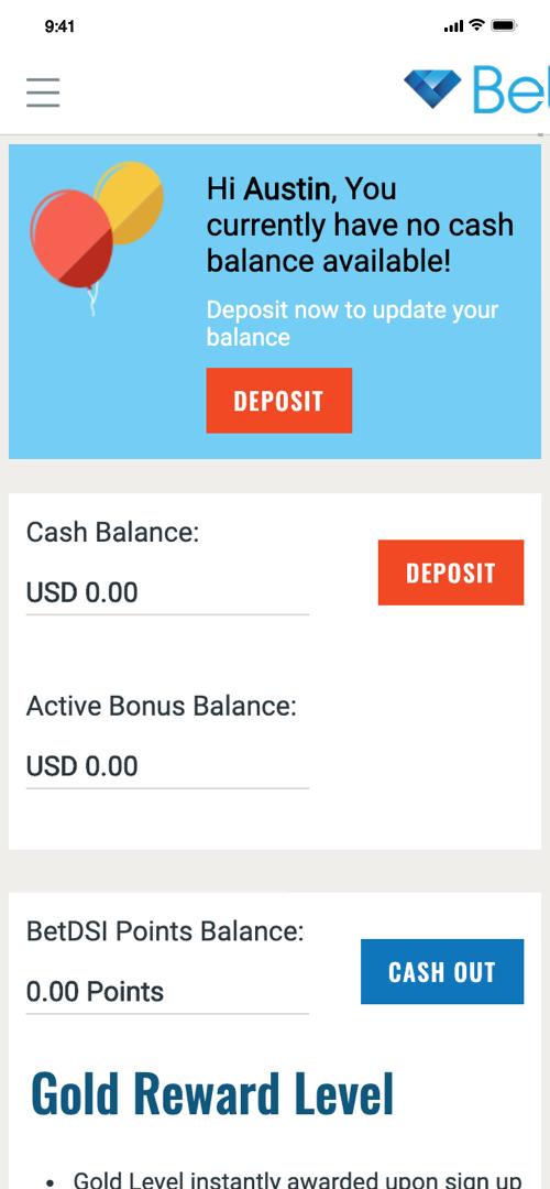 BetDSI Deposit Screen One