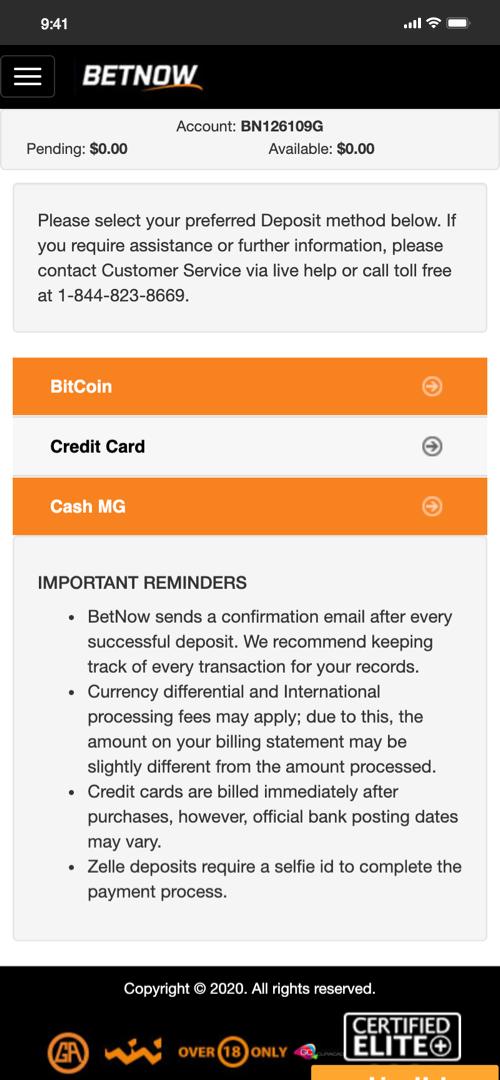 Betnow Bitcoin Deposit Screen One
