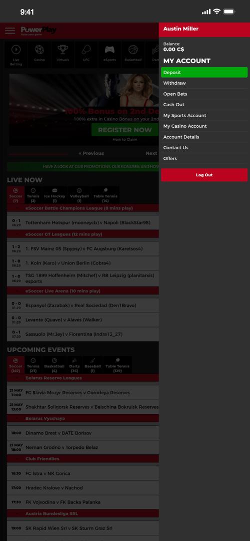 PowerPlay Deposit Screen One