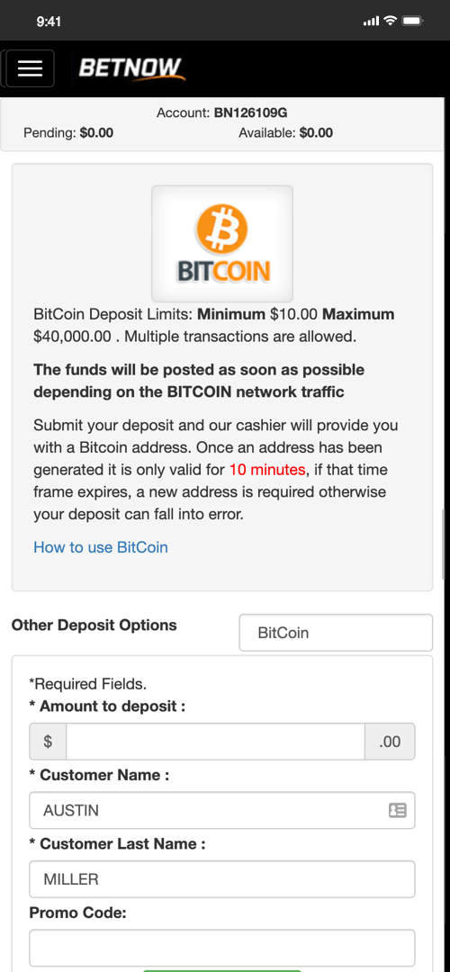 Betnow Bitcoin Deposit Screen Two