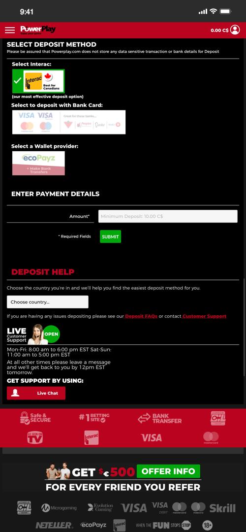PowerPlay Deposit Screen Two