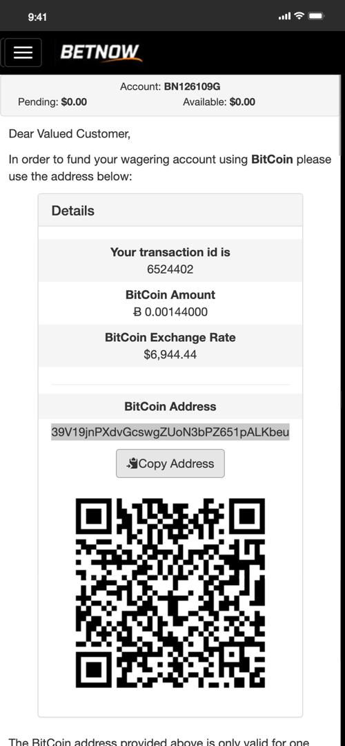 Betnow Bitcoin Deposit Screen Three