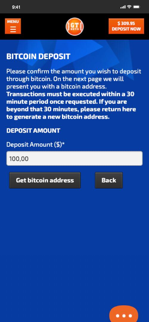 GTBets Bitcoin Deposit Screen Three