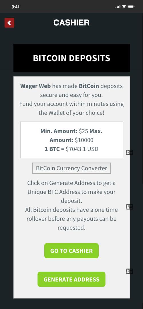 Wagerweb Deposit Screen Three