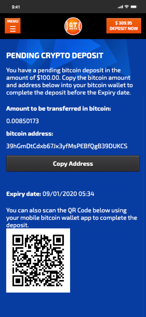 GTBets Bitcoin Deposit Screen Four