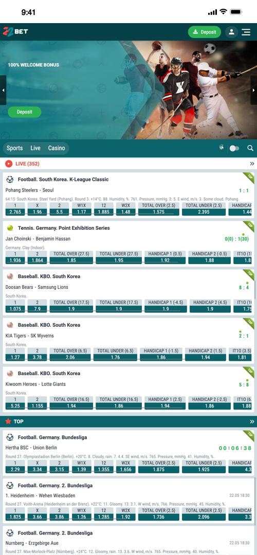 22Bet Live Betting Screen