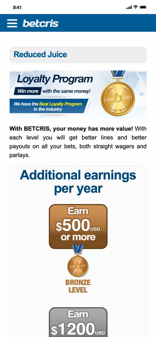 Betcris Loyalty program