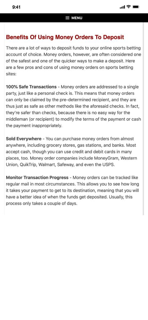 Money Order Screenshot