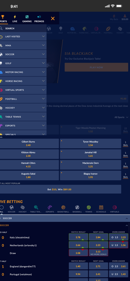 SportsInteraction Parlay Betting Screen One