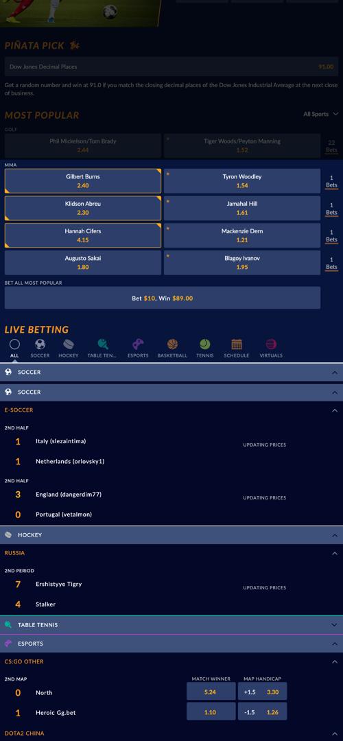 SportsInteraction Parlay Betting Screen Two