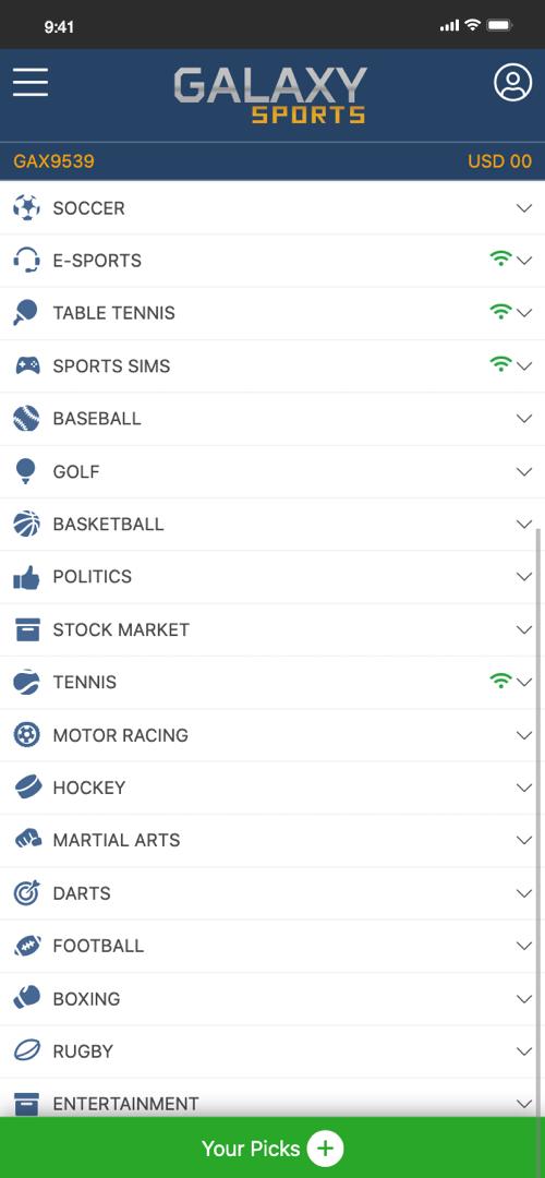 Galaxy Betting Options