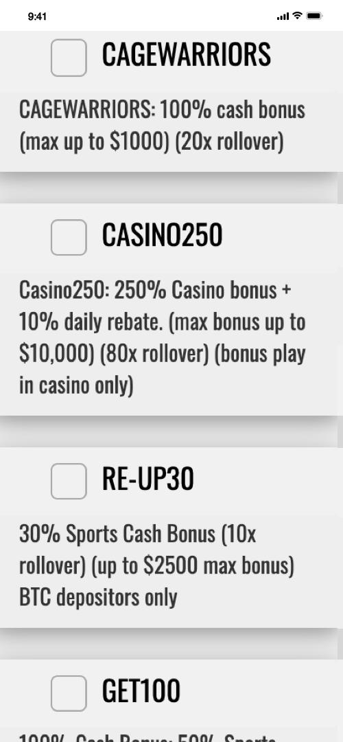 BetDSI Welcome Bonus Screen