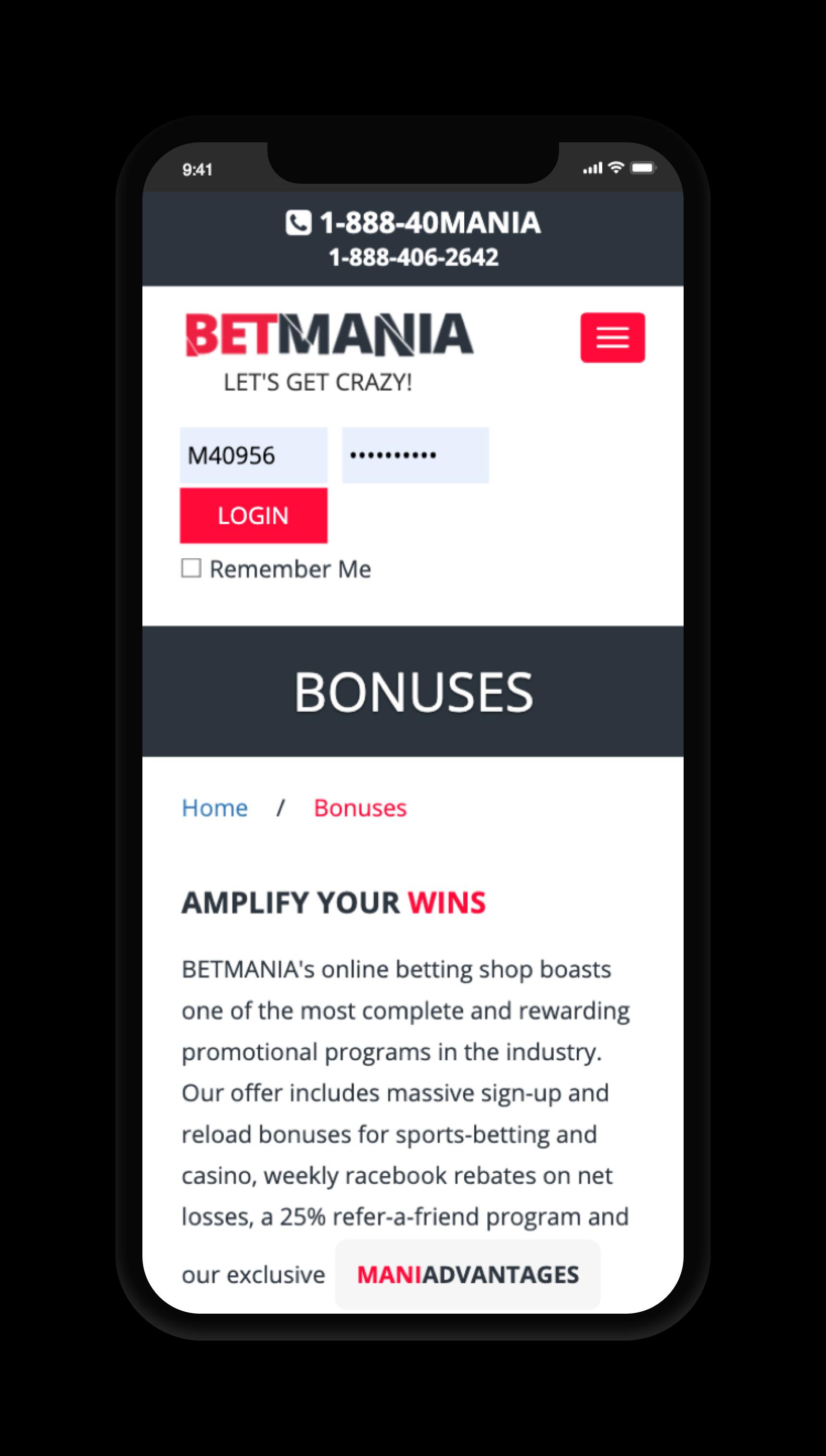 betmani bonuses screenshot
