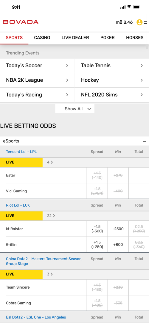 Bovada Live Betting Screenns Part One