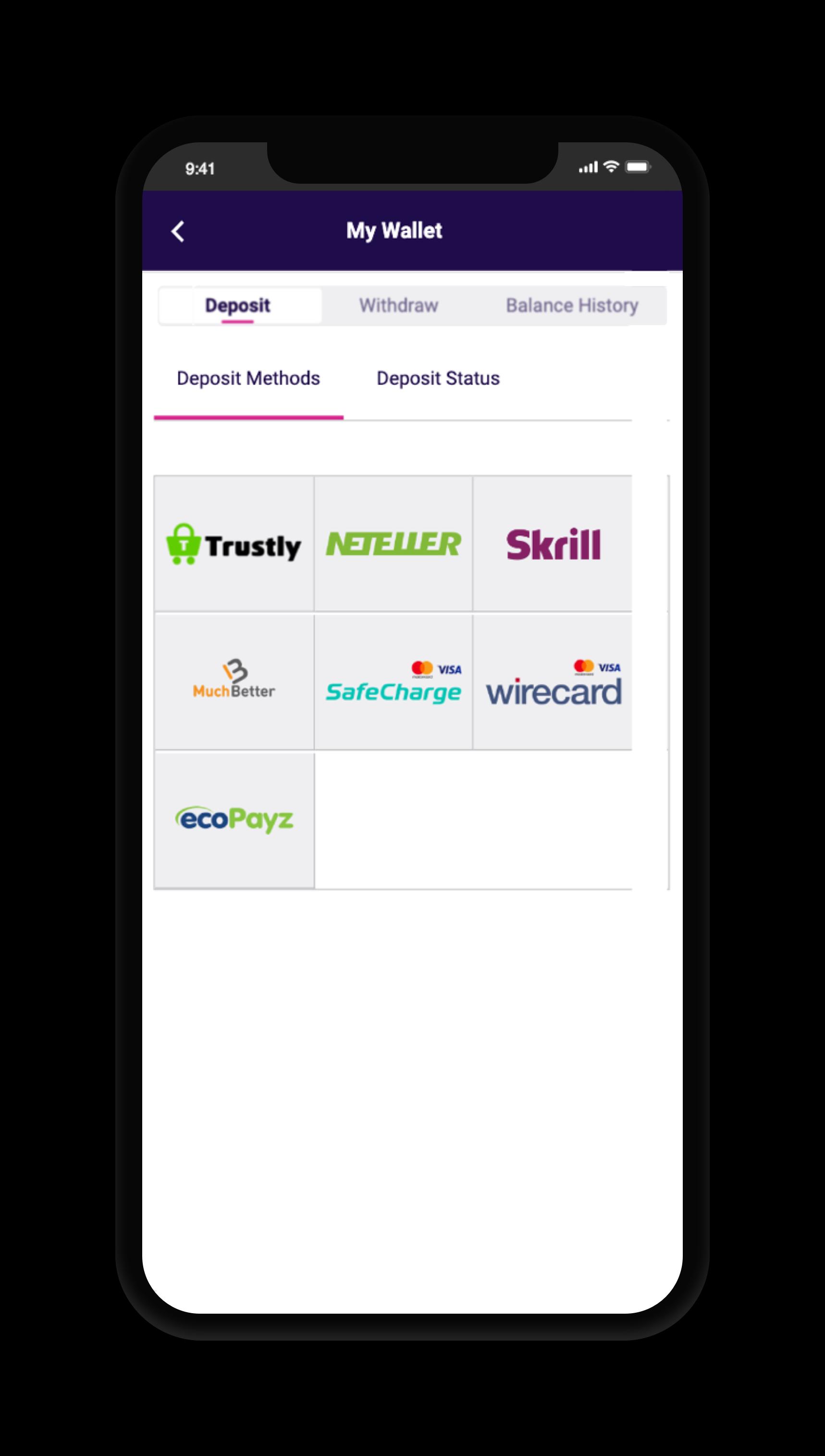 deposit method screenshot
