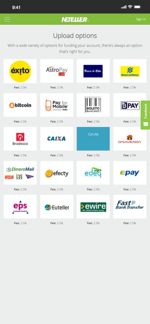 neteller options Screenshot