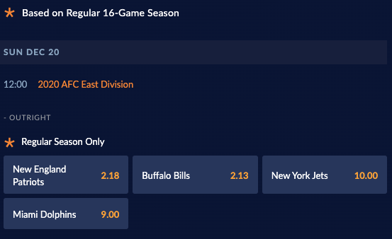 Betting odds example