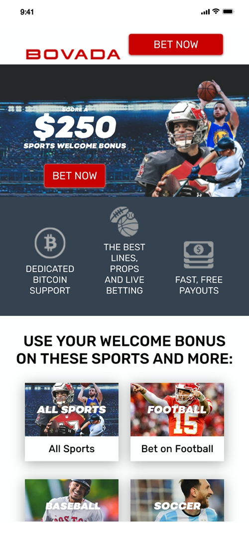 Bovada Sign-up Screen Step One